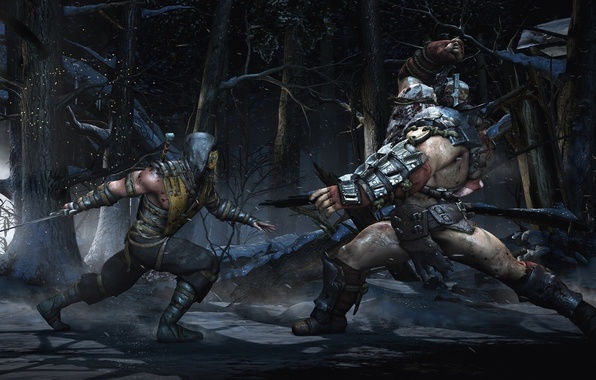 Picture battlefield, sword, blood, forest, snow, katana, tree, man, fight, Scorpion, battle, ninja, mask, armour, warrior, …