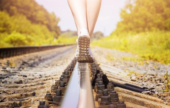 Picture legs, woman, rail