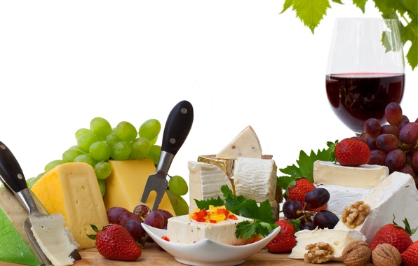 Picture wine, red, glass, cheese, strawberry, grapes, walnuts