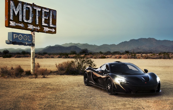 Picture car, auto, supercar, black, headlights, McLaren, McLaren P1