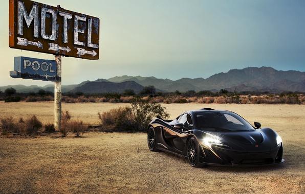 Picture car, auto, supercar, black, headlights, McLaren, McLaren P1
