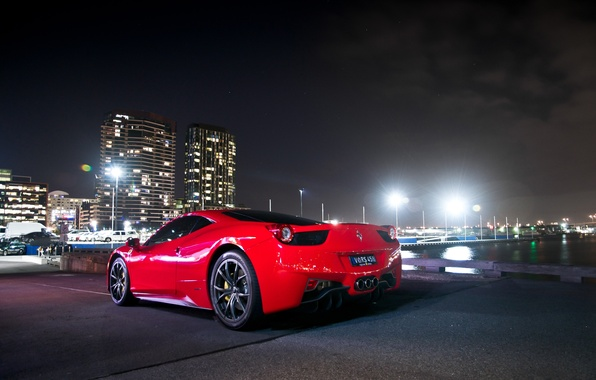 Picture the sky, light, night, lights, red, ferrari, Ferrari, Italy, 458 italia