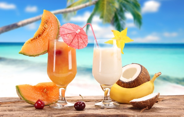 Picture summer, cherry, stay, coconut, glasses, juice, fruit, banana, drinks, cocktails, melon, carambola, cervical