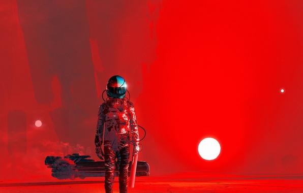 Picture the sun, red, fiction, the suit, art, helmet