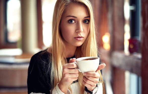 Picture look, girl, eyes, Cup, sponge, the beauty, Madlen
