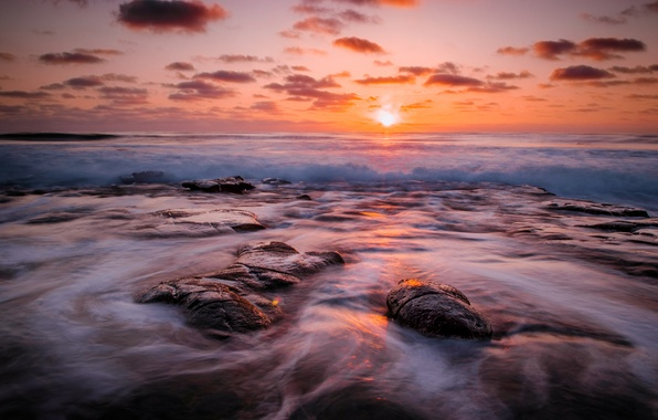 Picture sea, wave, beach, the sun, dawn, reefs