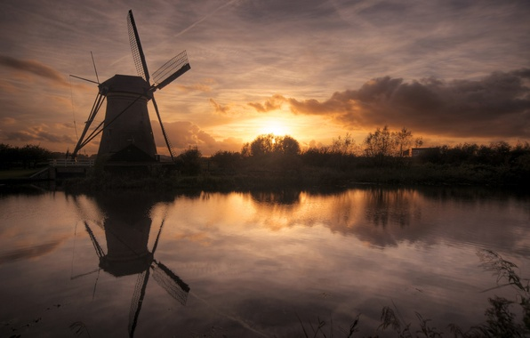 Picture the sky, the sun, clouds, sunset, river, mill