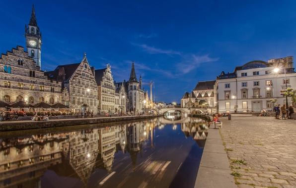 Picture bridge, lights, river, home, the evening, Belgium, Ghent