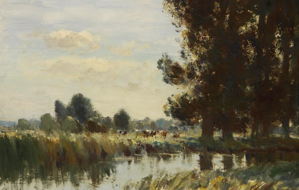 Picture trees, landscape, nature, picture, Edward Seago, The Creek in Suffolk