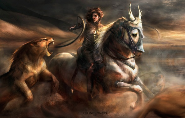 Picture cat, girl, movement, horse, dust, Leo, art, battle, whip, wild