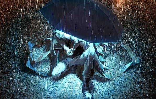 Picture light, night, umbrella, rain, umbrella, art, puddles, guy, Yuanmaru