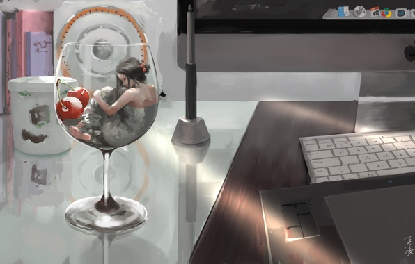 Picture computer, girl, glass, anime, art, cherry, wlop