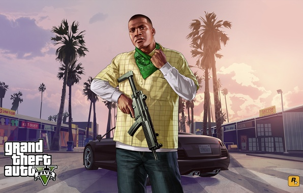 Picture weapons, machine, Grand Theft Auto V, Franklin Clinton