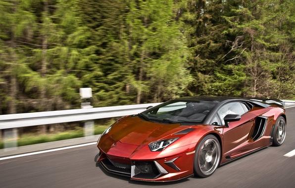 Picture forest, asphalt, movement, car, Lamborghini aventador Mansory, lamborghini aventador mansory