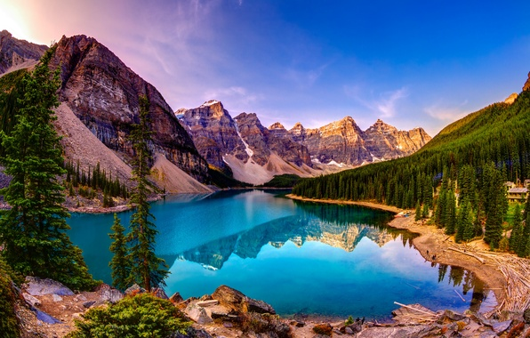 Picture forest, the sky, trees, landscape, mountains, lake