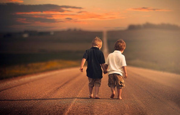 Picture road, children, space, brothers, boys, bokeh