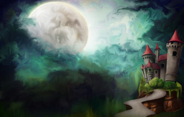 Picture road, clouds, night, castle, the moon, figure, tower, the full moon