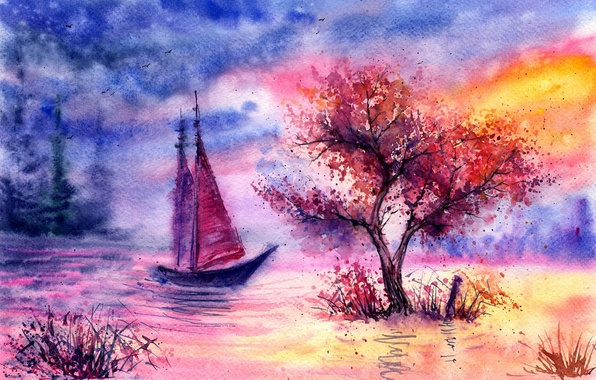 Picture grass, clouds, birds, river, tree, sailboat, the evening, watercolor, painted landscape