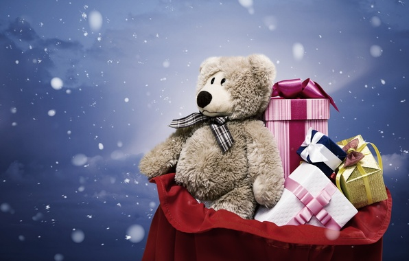 Picture snow, grey, holiday, toy, new year, bear, gifts, new year, bag, plush, toy, bear, snow, …