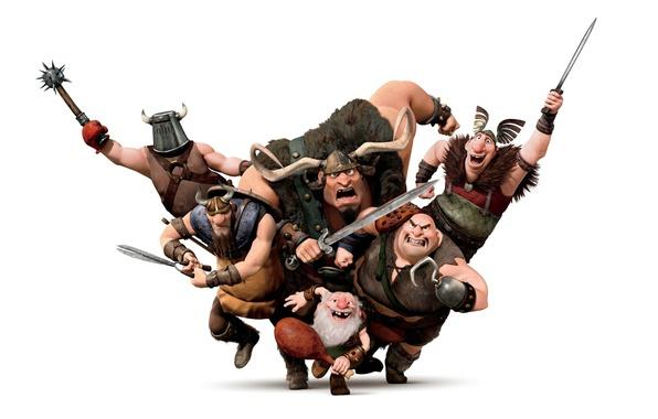 Picture attack, cartoon, warriors, Rapunzel, the Vikings