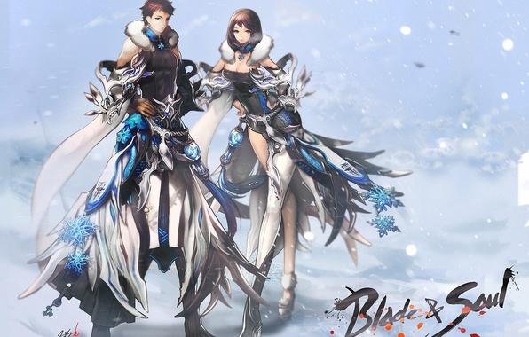 Picture girl, snow, art, guy, blade & soul, zis