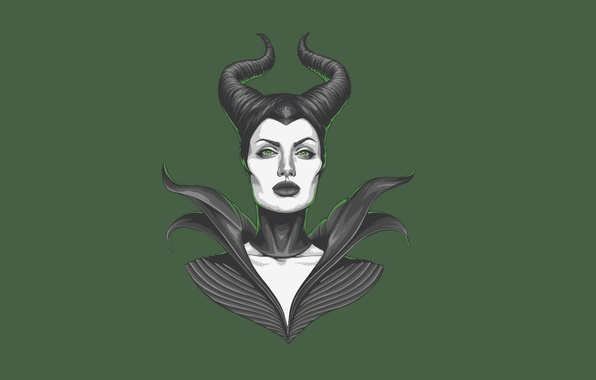Picture girl, Angelina Jolie, Angelina Jolie, green background, Maleficent, Maleficent