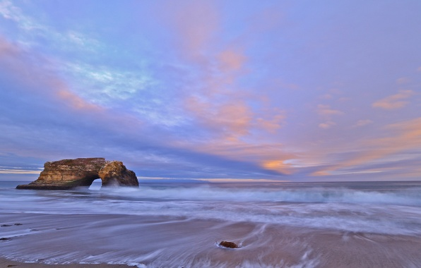 Picture sand, the sky, clouds, rock, shore, the evening, CA, surf, Bay, USA