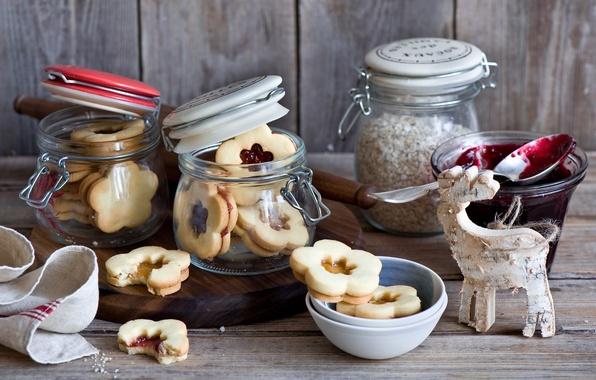 Picture winter, cookies, jars, sweets, dessert, holidays, jam, jam, Christmas