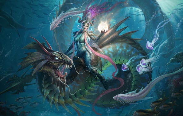 Picture girl, fish, magic, dragon, ball, art, jellyfish, spear, sphere, underwater world, top, Li Or