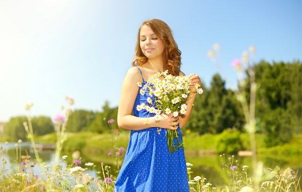 Picture summer, girl, the sun, trees, flowers, nature, river, glade, chamomile, bouquet, dress, hairstyle, brown hair, …