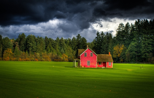 Picture field, forest, the sky, red, clouds, house, Canada, farm, British Columbia, Keath Ling Photography, Fort ...
