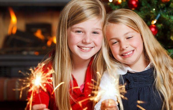 Picture light, children, lights, child, new year, happy, Merry Christmas, sparklers, child, Merry Christmas, children, New …