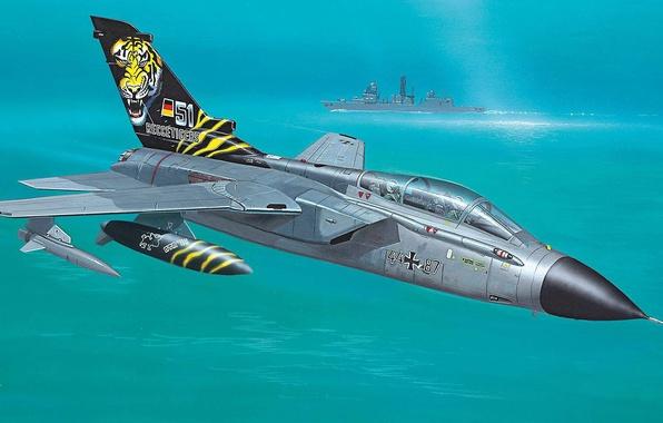 Picture sea, figure, ship, art, fighter-bomber, Panavia Tornado