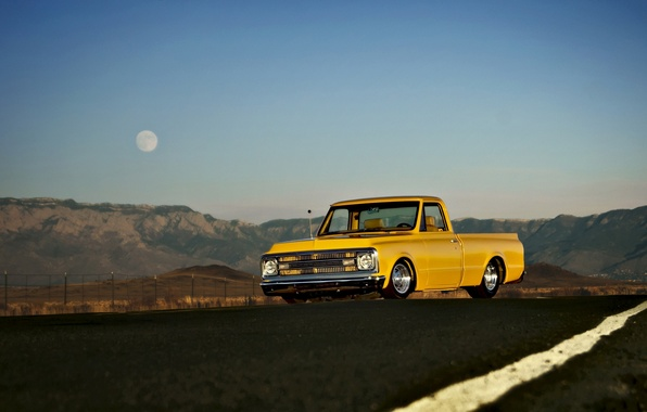 Picture road, field, the sky, hills, the moon, lights, the fence, Chevrolet, wheel, 1969, C10, front