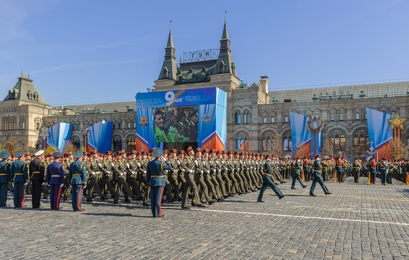 Picture soldiers, Moscow, Russia, military, Victory Day, Victory Parade, Red Square, May 9