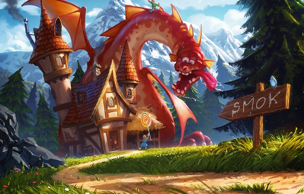 Picture mountains, sign, dragon, art, track, girl, house, Lollipop