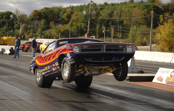 Picture race, car, start, two-door, Plymouth Barracuda, coloring. tuning, jerk