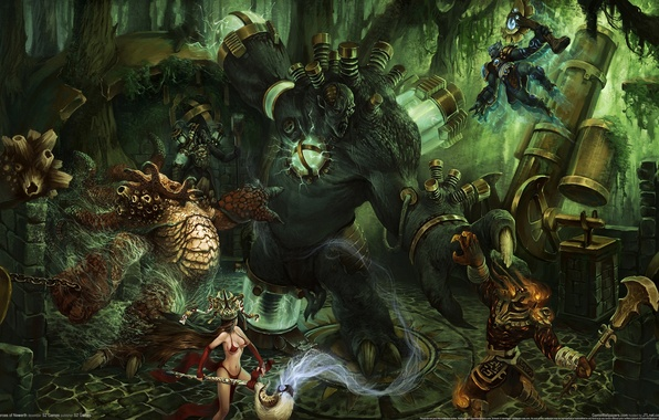 Picture forest, pipe, war, monster, heroes of newerth, mages
