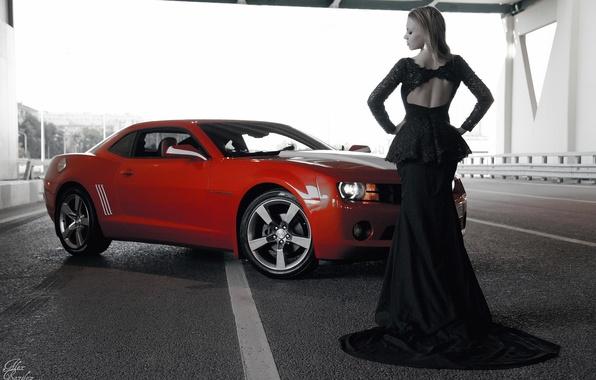Picture girl, focus, Chevrolet, figure, dress, b/W, Camaro, neckline, photographer, Alex Bazilev
