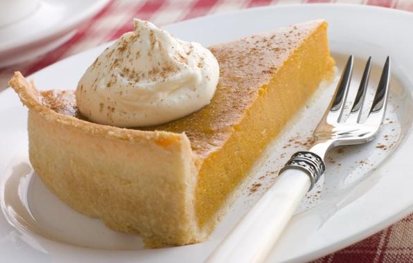 Picture food, plate, pie, plate, plug, cake, cream, dessert, food, 1920x1200, sweet, sweet, cream, dessert, fork