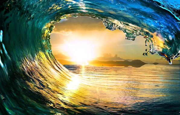 Picture sea, wave, the sun, landscape, nature, the ocean, waves, sea, landscape, nature, sunlight, Ocean, Tropical …