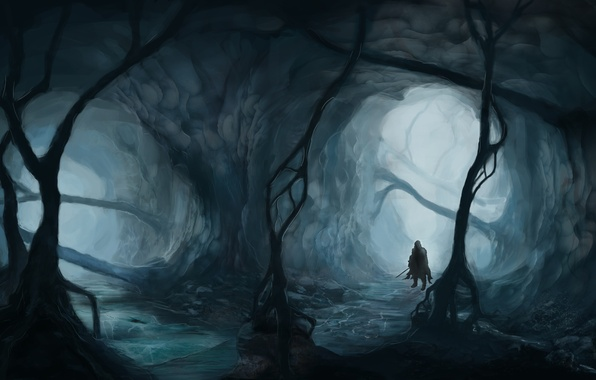 Picture forest, trees, fog, weapons, people, sword, art