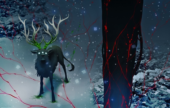 Picture snow, tree, animal, radiation, deer, art, romance of the Apocalypse, romantically apocalyptic, alexiuss