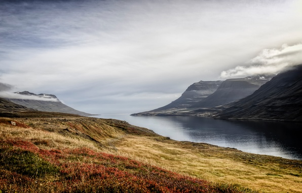 Picture autumn, the sky, grass, clouds, mountains, fog, lake, morning