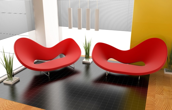 Picture design, style, room, red, interior, plants, chair, form, apartment