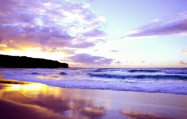 Picture sea, wave, the sky, landscape, sunset, shore, beautiful