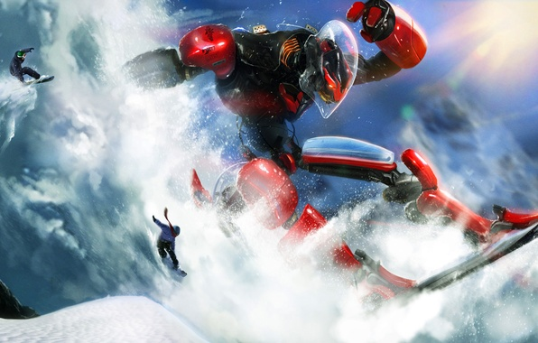 Picture winter, the sun, snow, future, people, competition, snowboard, snowboarding, sport, robot, slope, race, ride, avalanche, …