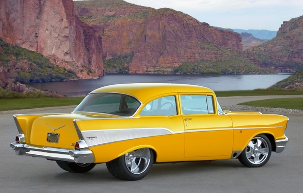 Picture mountains, retro, Auto, Yellow, Lake, Chevrolet, Day, Side view, project X