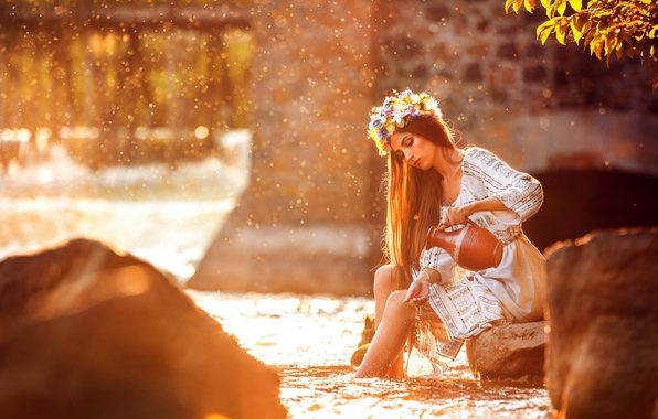 Picture NATURE, STONES, WATER, HAIR, DROPS, DRESS, SQUIRT, BROWN hair, FOR, LIGHT, RIVER, RAYS, DAWN, WREATH, …