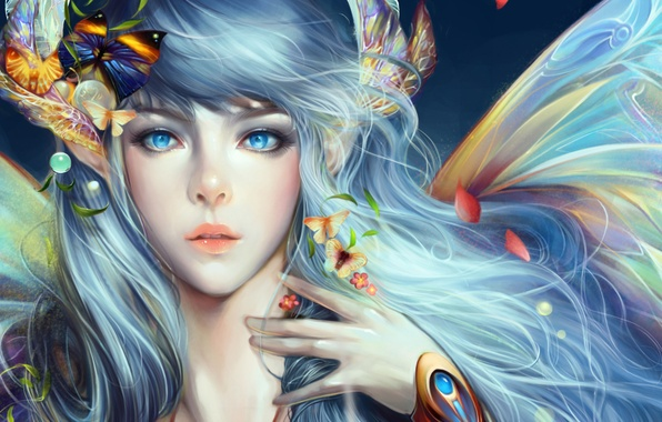 Picture girl, butterfly, flowers, wings, petals, art, angelos
